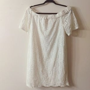 Chico's White Lace Off the Should Dress